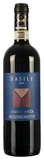 La bottiglia del Vino Sangiovese Cartacanta di Basile